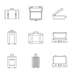 Travel luggage icon set outline style vector