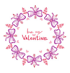 valentines day handwritten card with cute frame vector image