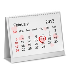 Valentines Day in calendar vector image