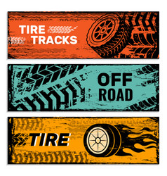 wheels banners tires on road protector car dirt vector image
