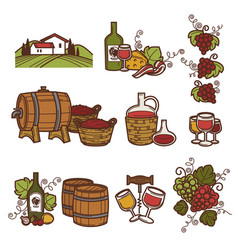 Winemaking or wine production viticulture icons vector