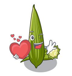 With heart luffa in the a cartoon shape vector