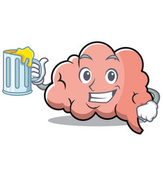 with juice brain character cartoon mascot vector image
