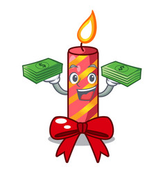 with money christmas candle combined with pita vector image