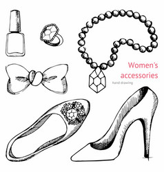 Womens accessories set hand drawing vector