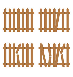 Wooden fence in brown color vector