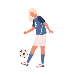 young female soccer player exercising and kicking vector image
