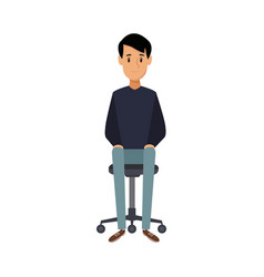 young man sitting in office chair thinking vector image