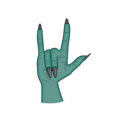 Zombie hand horns satan sign finger up gesture vector