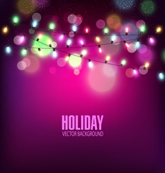 festive background of luminous garlands of light vector image