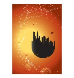 flying city vector image