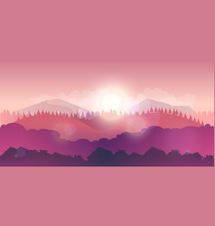 mountains and forest landscape early on the vector image