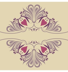 Soft ornate background with hearts vector image