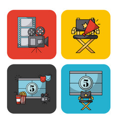 icons set movies vector image
