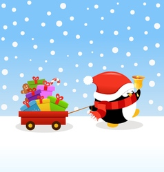 Penguin Delivering Christmas Gifts vector image vector image