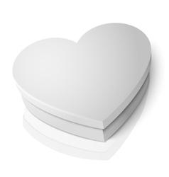 realistic blank white heart shape box vector image vector image