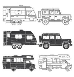 set of camper vans icons vector image