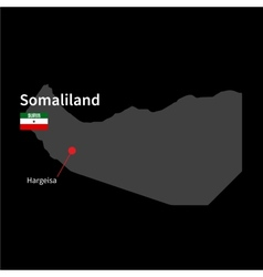 Detailed map of Somaliland and capital city vector image vector image