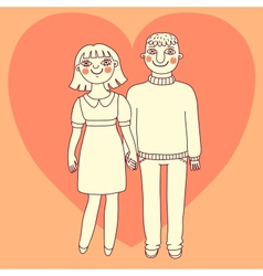 Drawn man and woman Young couple in love vector image