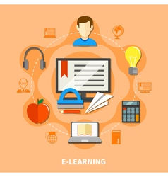 E Learning Colored Composition vector image vector image