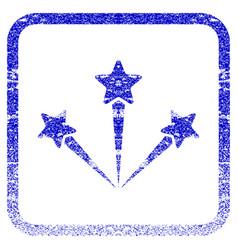 Festive fireworks framed textured icon vector