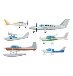 Small propeller airplanes isolated set vector