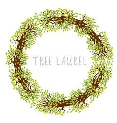 Tree laurel - round frame vector image