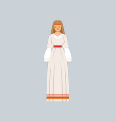 Young woman in traditional slavic or pagan costume vector