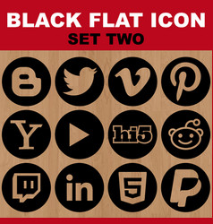 black flat icon set two image vector image vector image