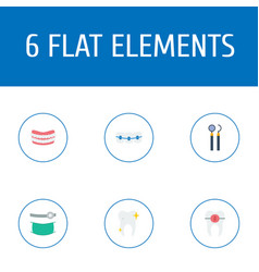 flat icons cleaned artificial teeth brace and vector image vector image
