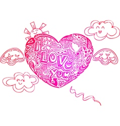 Flying I LOVE YOU heart with doodles vector image vector image