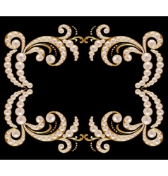 Gold frame with pearls vector image