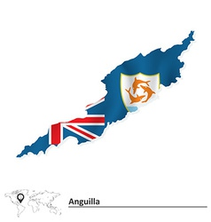 Map of Anguilla with flag vector image vector image