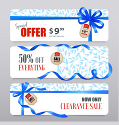 sale banners realistic ribbons vector image