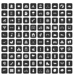 100 kids games icons set black vector image