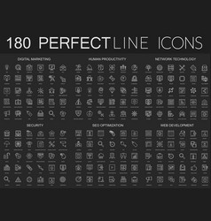 180 modern thin line icons on dark black vector image