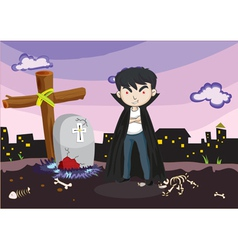 A vampire at the cemetery vector