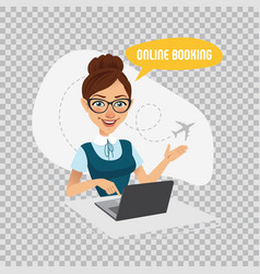 air tickets online booking woman reserves tickets vector image