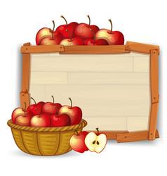 Apple in basket on wooden banner vector