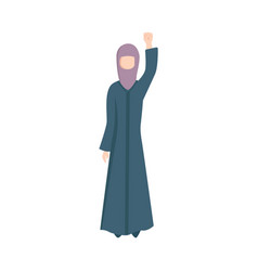 arabic muslim woman in hijab fist up vector image