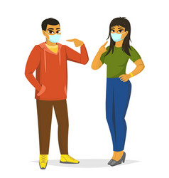 Asian man and woman wearing surgical mask vector