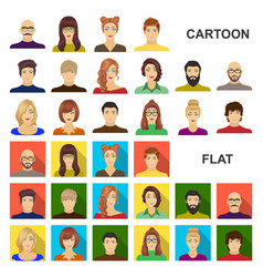 avatar and face cartoon icons in set collection vector image