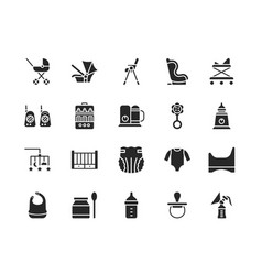 Baby items flat glyph icons set vector