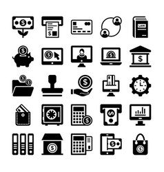 Banking and finance line icons 2 vector
