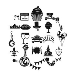 banquet icons set simple style vector image