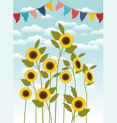 Beautiful sunflowers garden and garlands scene vector