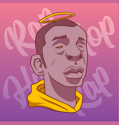 black man with a halo on a background of pink vector image