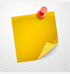 Blank yellow sticker with bending corner on vector