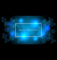blue light hexagon with white frame text on black vector image
