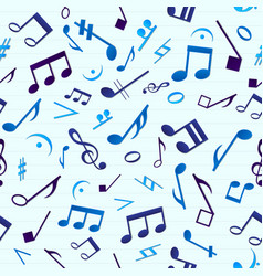Blue music seamless pattern vector